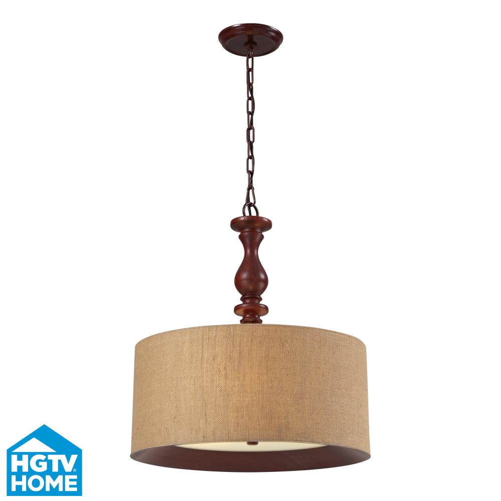 Elk Lighting Nathan 3-Light Drum Pendant In Dark Walnut