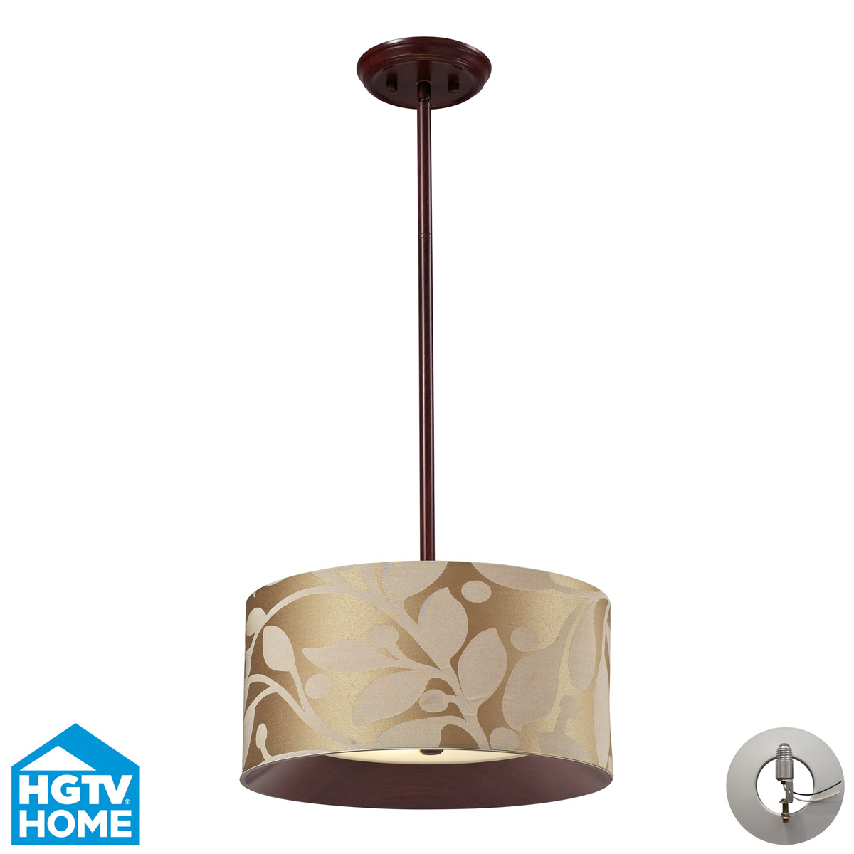 Elk Lighting Nathan 3-Light Drum Pendant In Dark Walnut with Recessed Conversion Kit