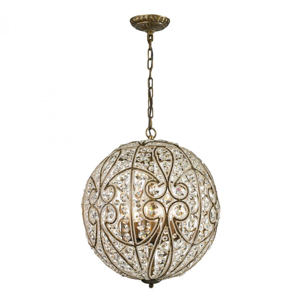 Elk Elizabethan 8-Light Crystal Orb Pendant in Dark Bronze
