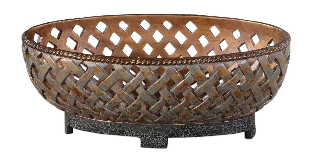 Uttermost Teneh Lattice Weave Design Bowl