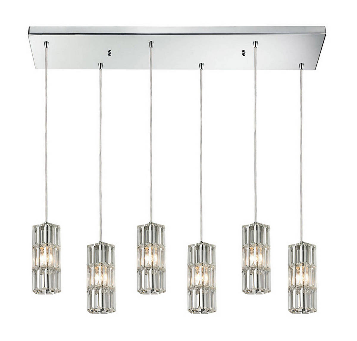 Elk Cynthia 6-Light Linear Round Pendant in Polished Chrome