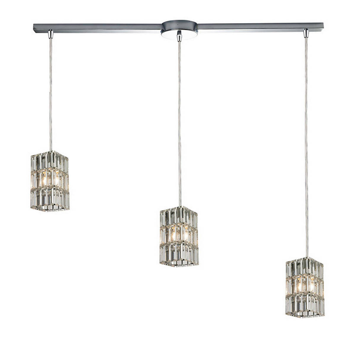 Elk Cynthia 3-Light Linear Square Pendant in Polished Chrome
