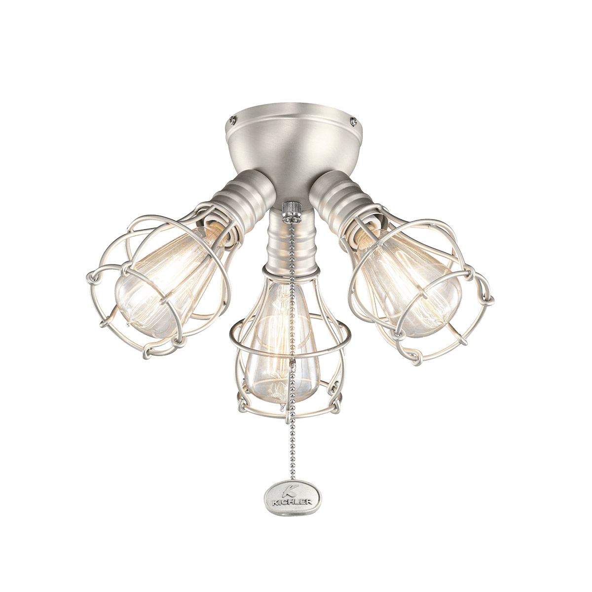 Kichler 3-Light Industrial Fan Light Kit In Brushed Nickel