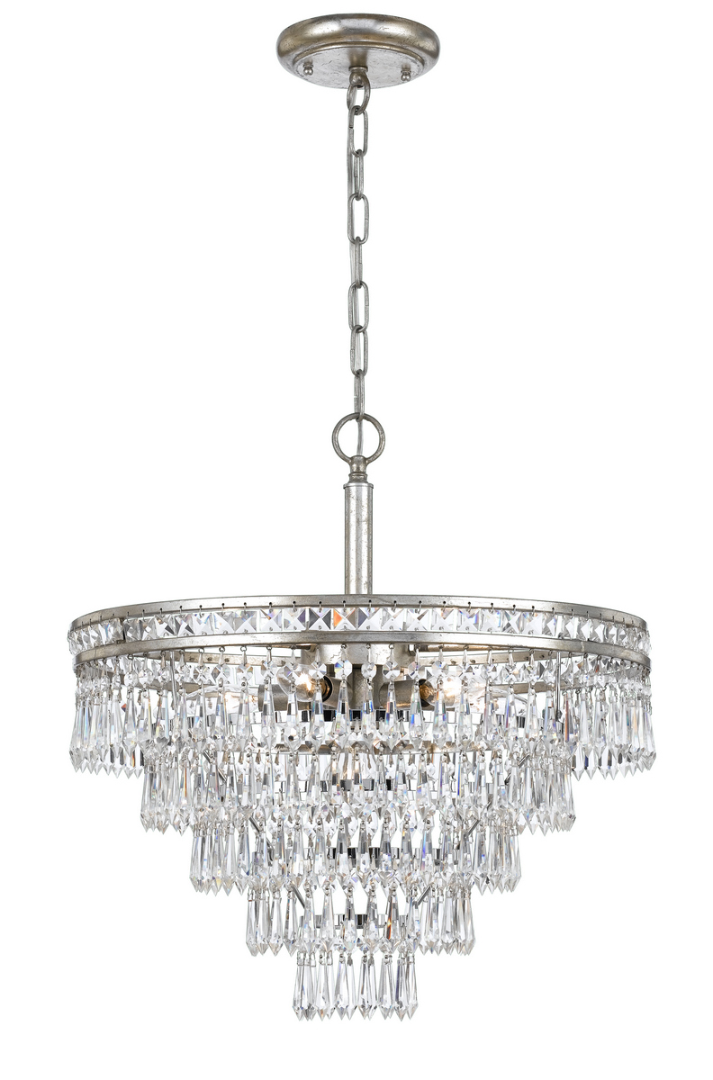 Crystorama Mercer 6-Light Hand Cut Crystal Chandelier in Silver