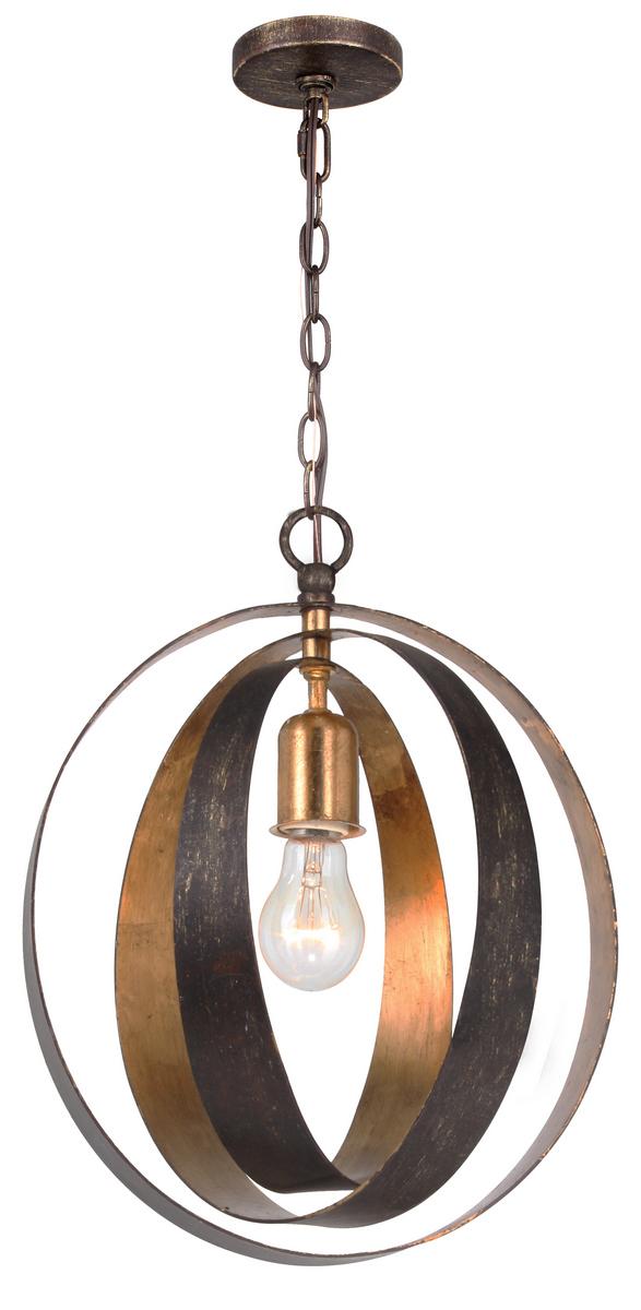 Crystorama Luna 1-Light Sphere Chandelier in English Bronze + Antique Gold