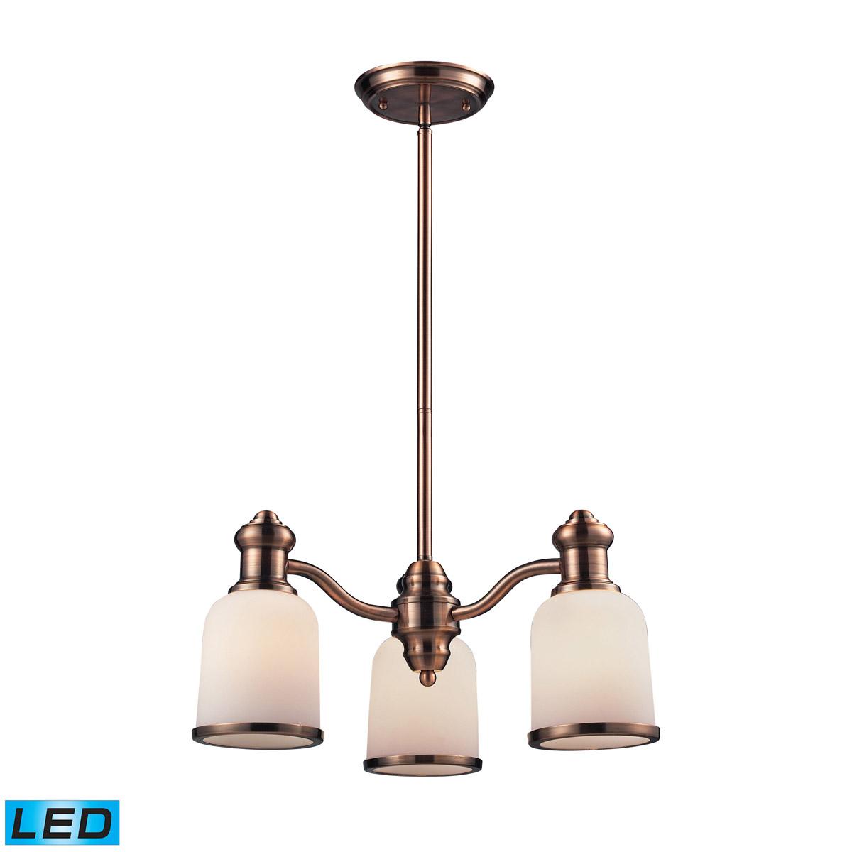 Elk Lighting Brooksdale LED 3-Light Chandelier in Antique Copper