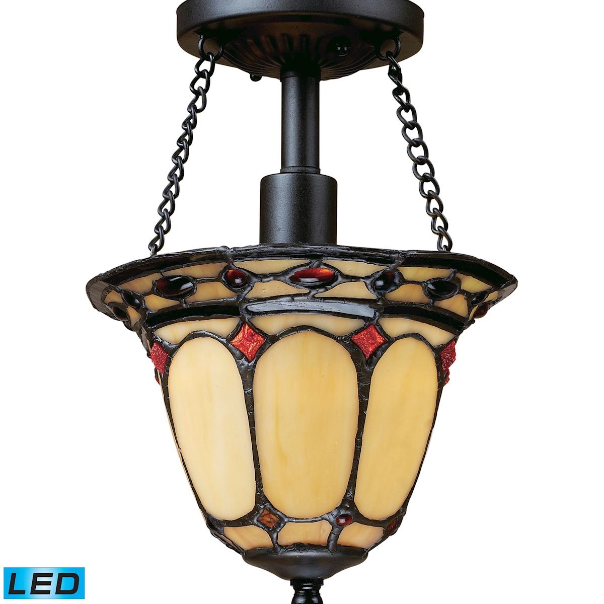 Elk Lighting Diamond Ring LED 1-Light Semi Flush in Burnished Copper
