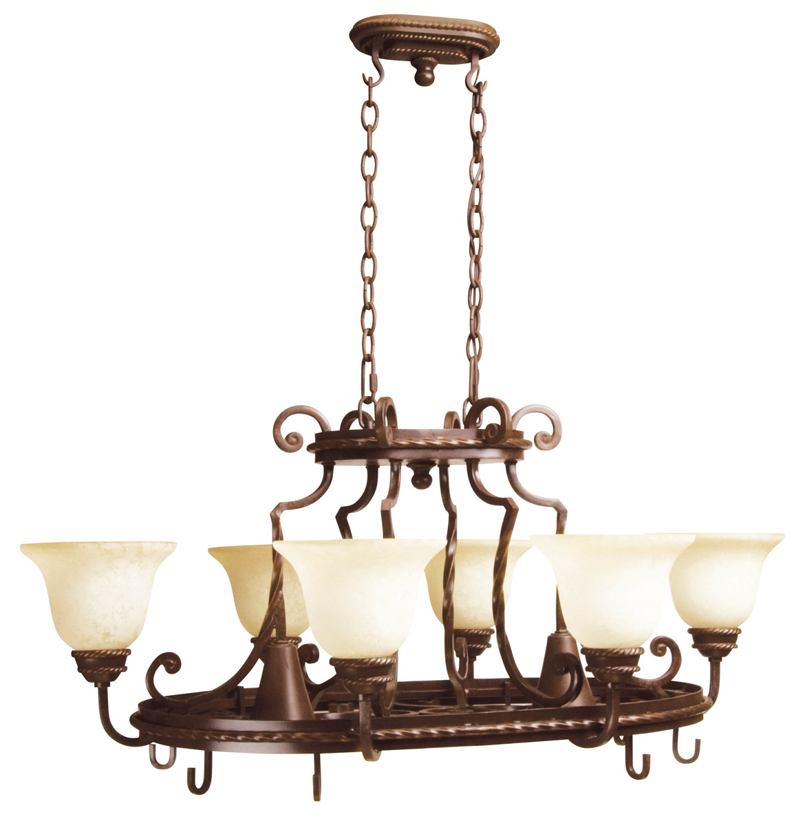Jeremiah Riata 8-Light Pot Rack in Aged Bronze w/Antique Scavo Glass