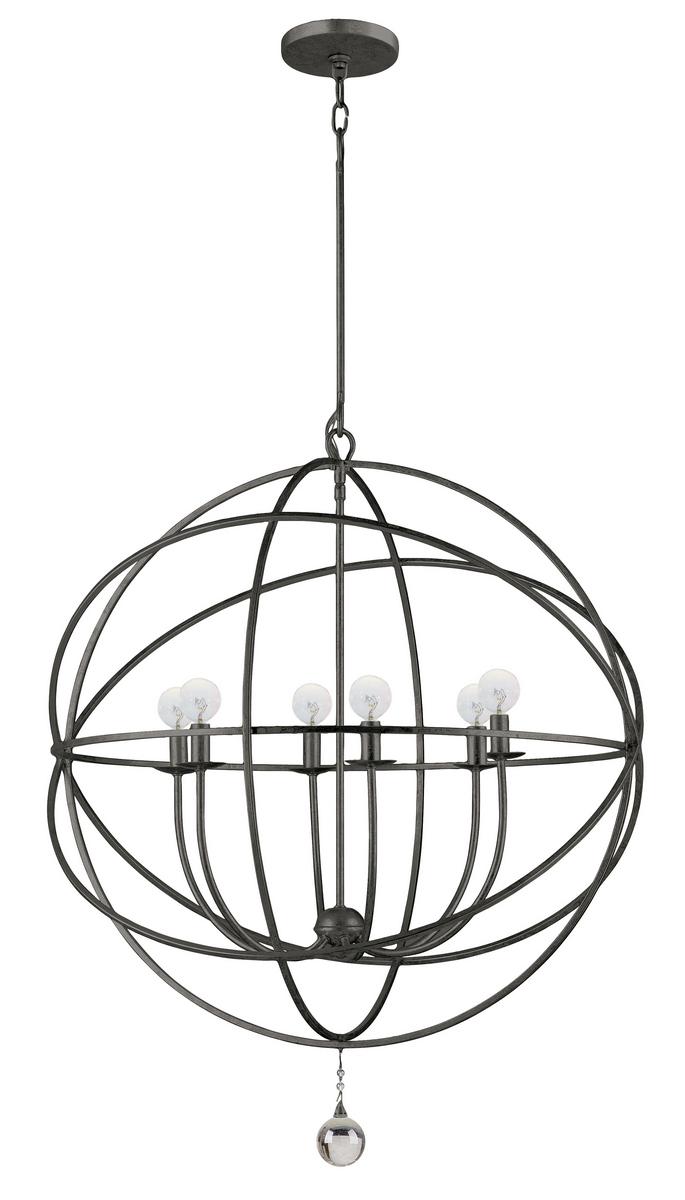 Crystorama Solaris 6-Light Chandelier in English Bronze