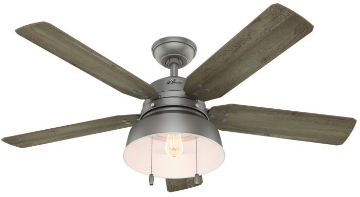 """Hunter Mill Valley 52"""" LED Indoor/Outdoor Ceiling Fan in Matte Silver"""
