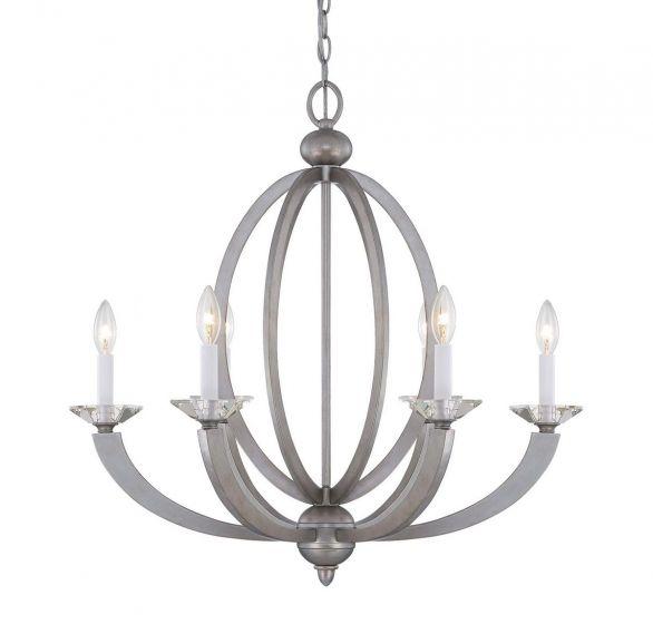 Savoy House Forum 6-Light Chandelier in Silver Sparkle
