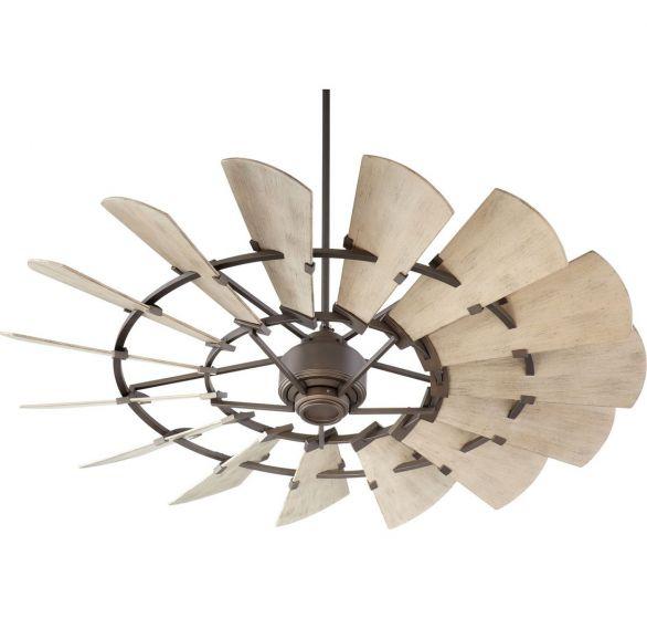 "Quorum Windmill 60"" 15-Blade Ceiling Fan in Oiled Bronze"