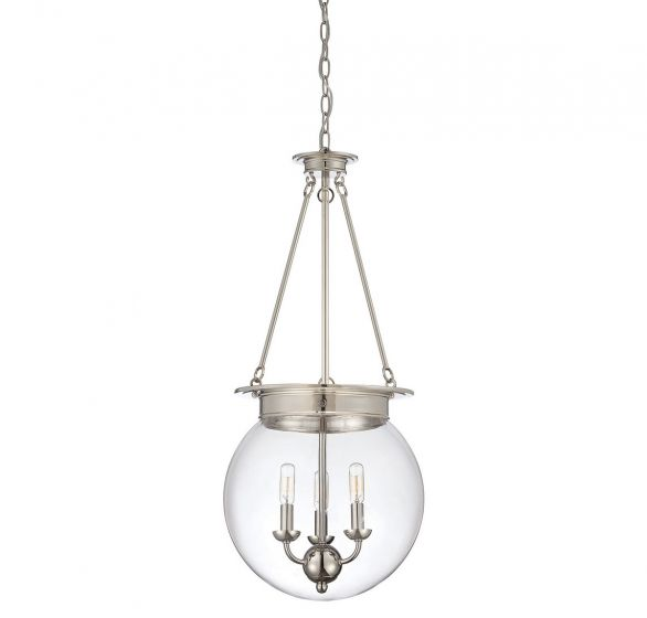 Savoy House Glass Orb 3-Light Pendant in Polished Nickel