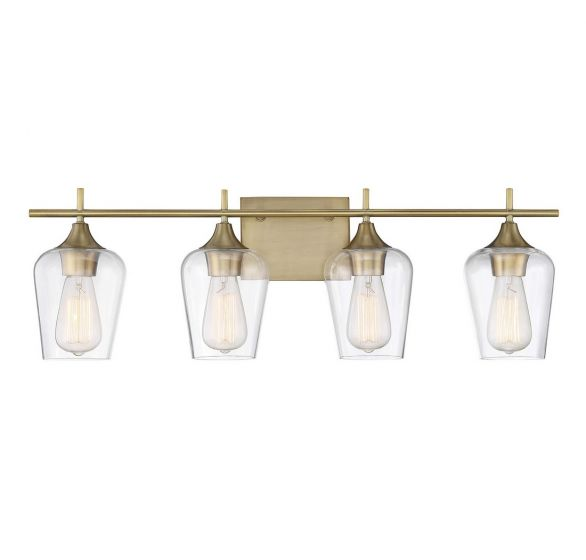 Savoy House Octave 4-Light Bath Bar in Warm Brass