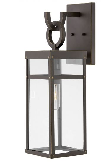 Hinkley Porter Iron 1-Light Outdoor Medium Wall Sconce in Oil Rubbed Bronze
