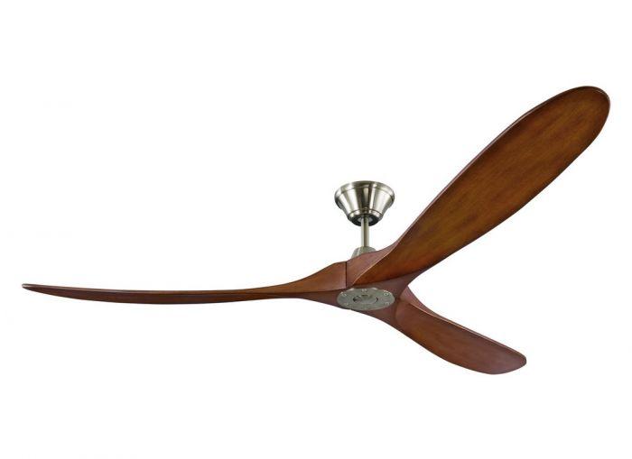 """Monte Carlo Maverick Max 70"""" Ceiling Fan in Brushed Steel w/ Koa Blade"""