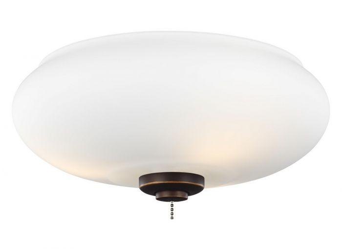 """Monte Carlo 12"""" 3-Light LED Matte Opal Glass Fan Kit in Roman Bronze"""