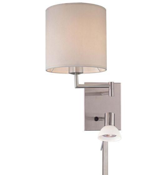 "George Kovacs George'S Reading Room 16"" Wall Lamp in Brushed Nickel"