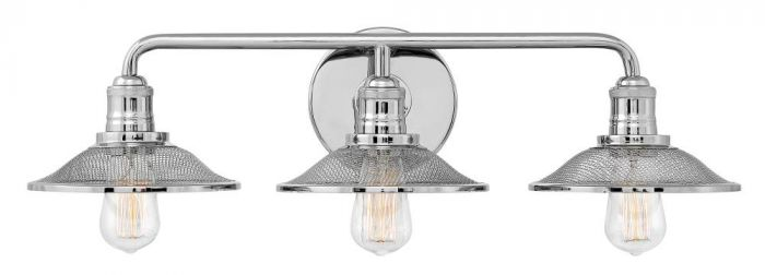 Hinkley Rigby Retro 3-Light Bathroom Vanity Light in Polished Nickel