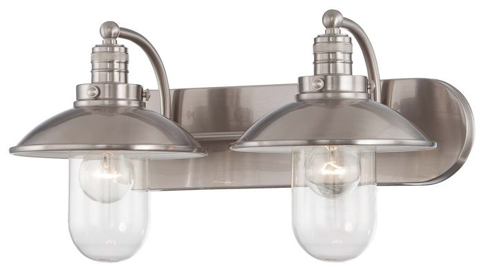 "Minka Lavery Downtown Edison 2-Light 19"" Bathroom Vanity Light in Brushed Nickel"
