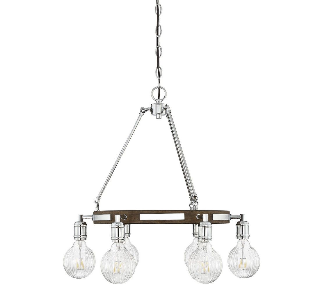 Piedmont 22 6 Light Chandelier In Polished Nickel Wood