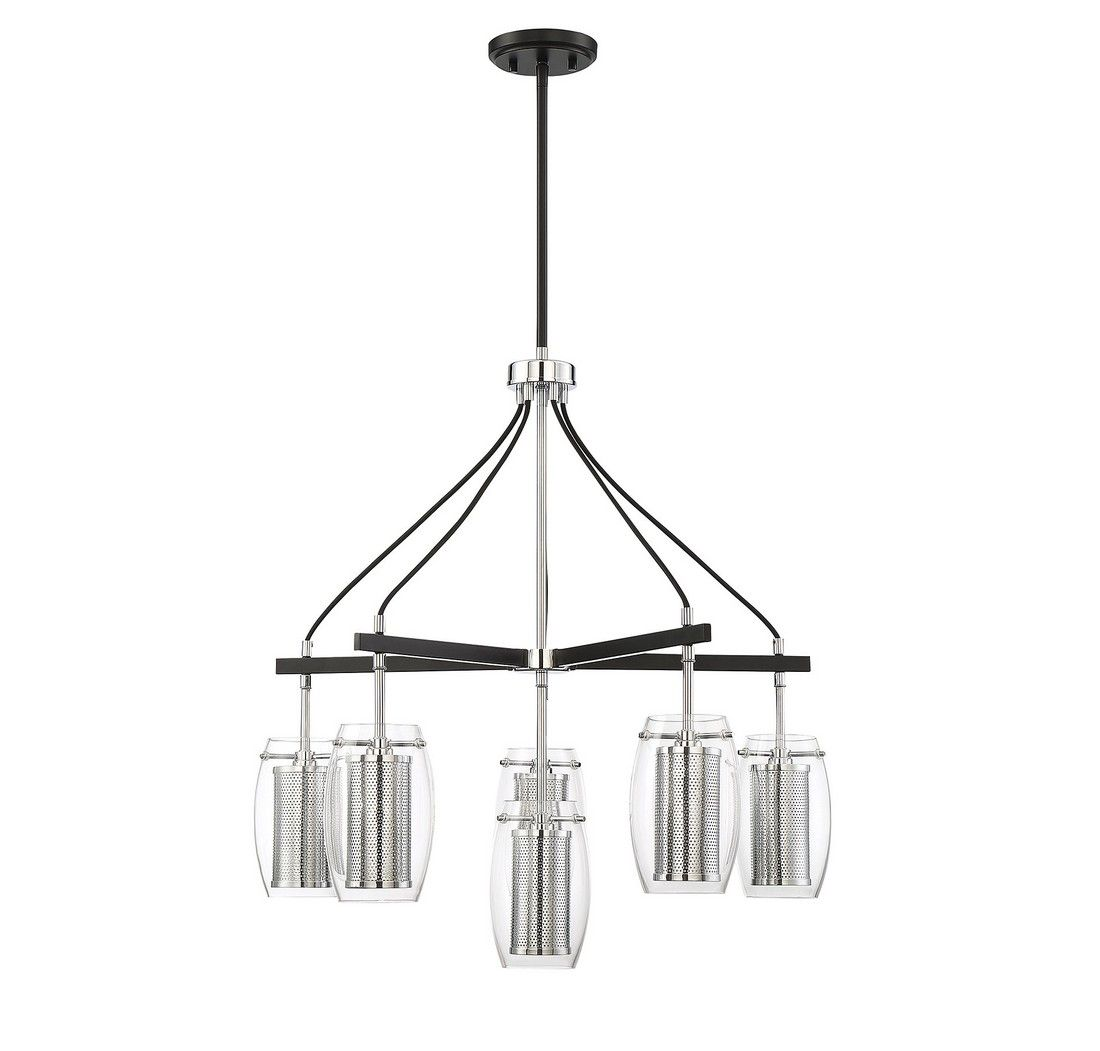 Chandelier In Matte Black Polished Chrome Tap To Expand