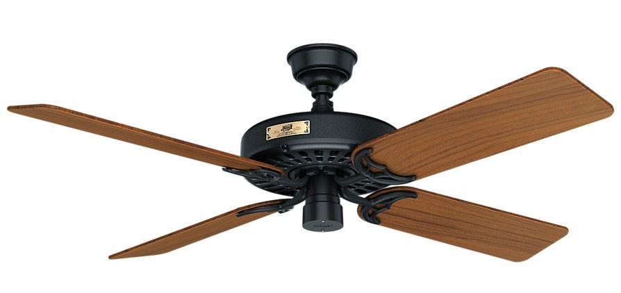 Hunter Original 52 Indoor Outdoor Teak Blade Ceiling Fan In Black Tap To Expand