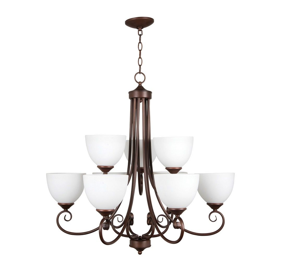 Craftmade Raleigh 9-Light White Frosted Chandelier In Old