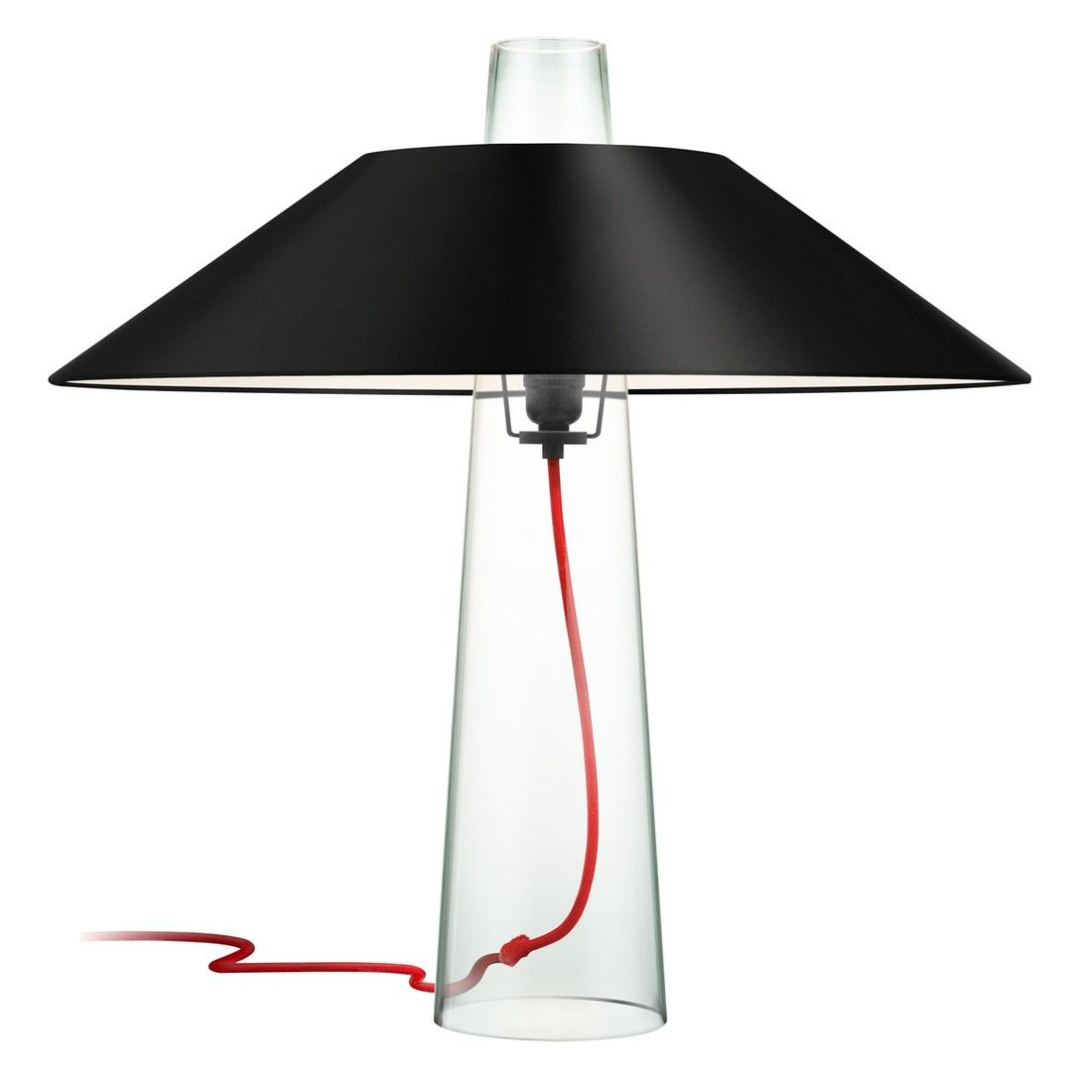 Sonneman Sky 24 Black Opaque Paper Shade Table Lamp In Clear Glass