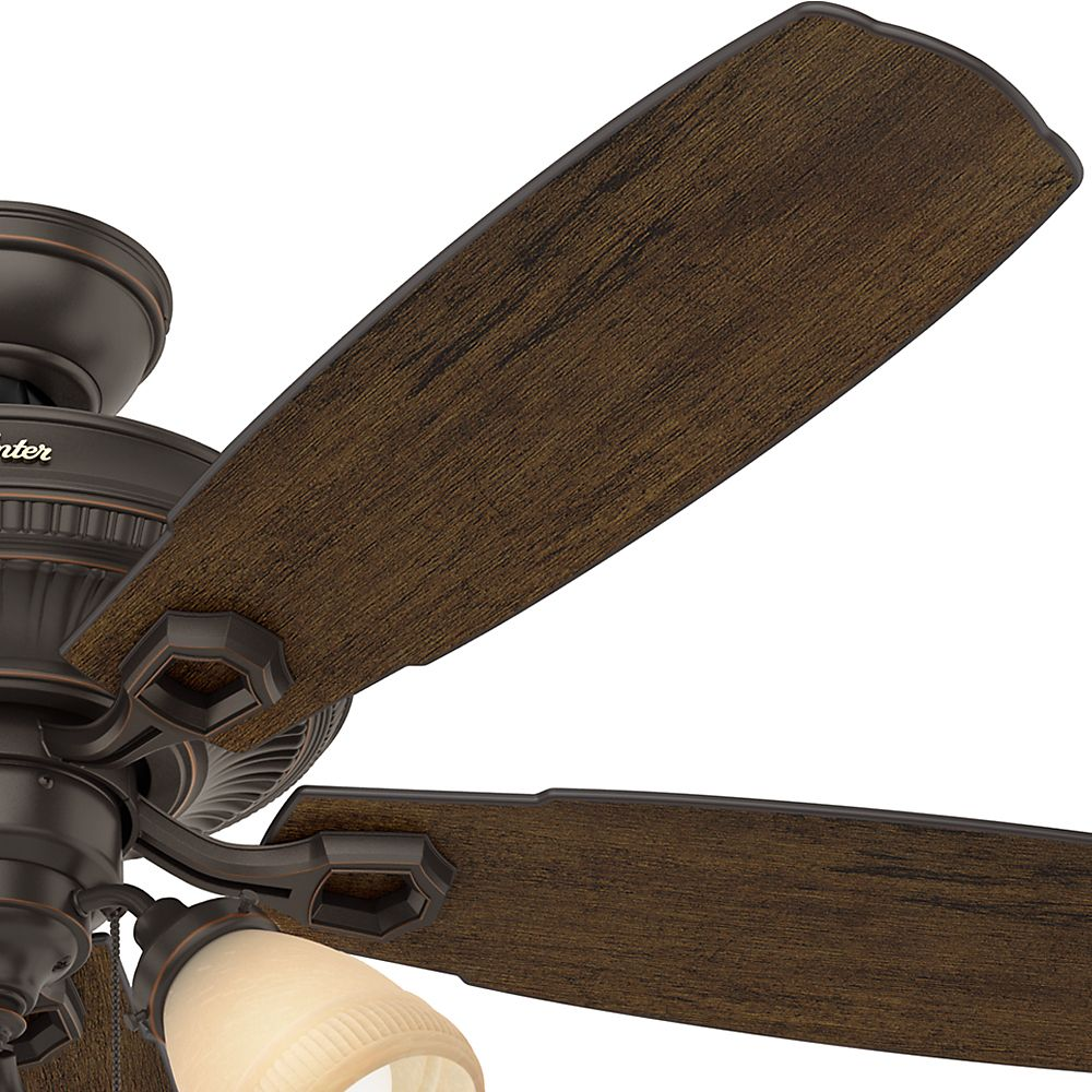 """52 Onyx Bengal 4 Light Ceiling Fan With Light Kit: Hunter Ambrose 52"""" 3-Light Ceiling Fan In Onyx Bengal"""
