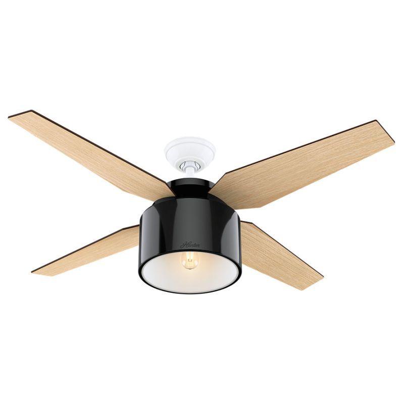 "Mid Century Modern Ceiling Fan: Hunter Cranbrook 52"" LED Indoor Ceiling Fan In Black"