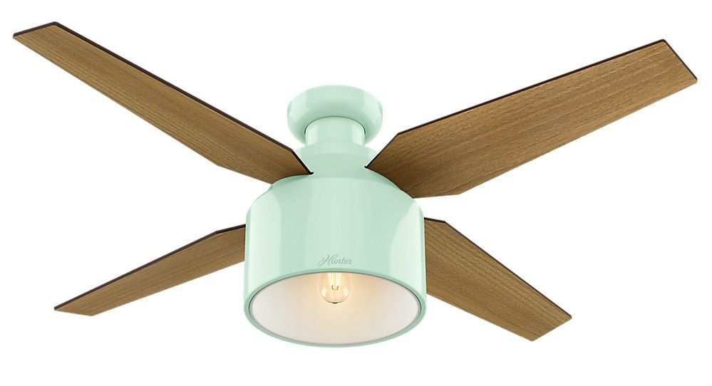 Hunter Cranbrook 52 Led Indoor Low Profile Ceiling Fan In Mint Mid Century Modern Fans Lighting And Home Decor By Style