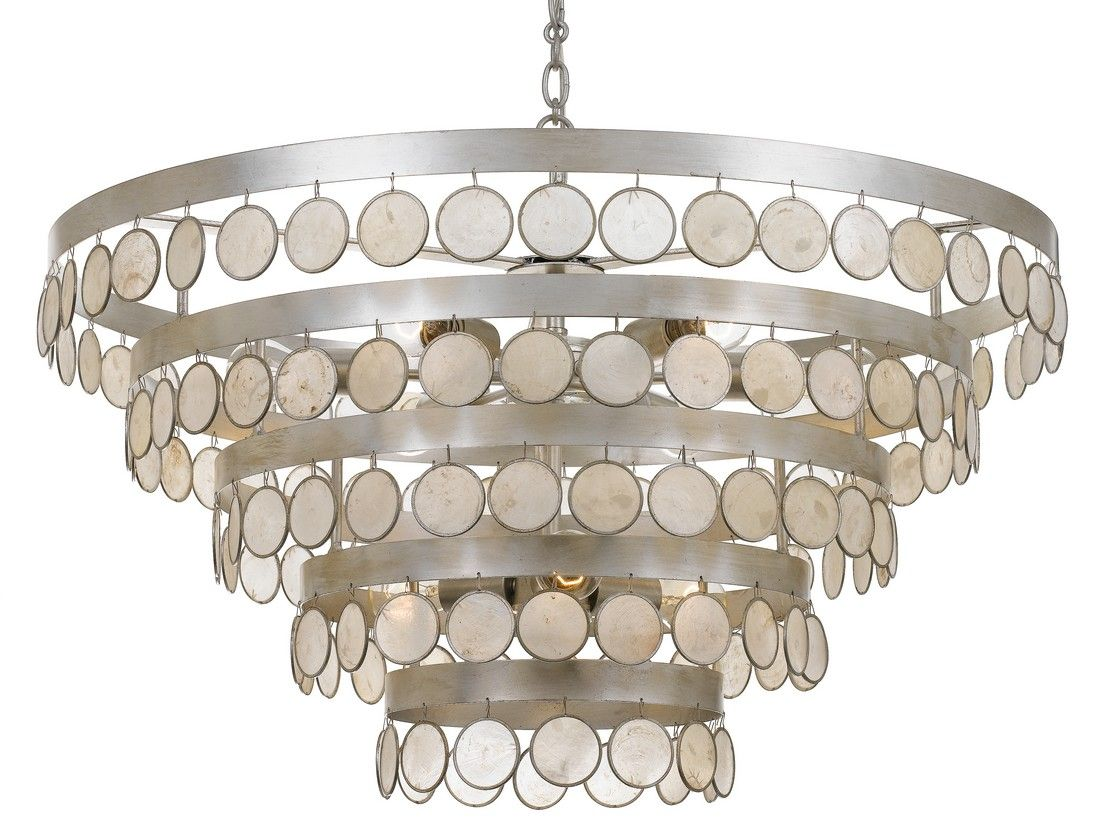 Crystorama coco 9 light 19 coastal chandelier in antique silver with capiz shell crystals