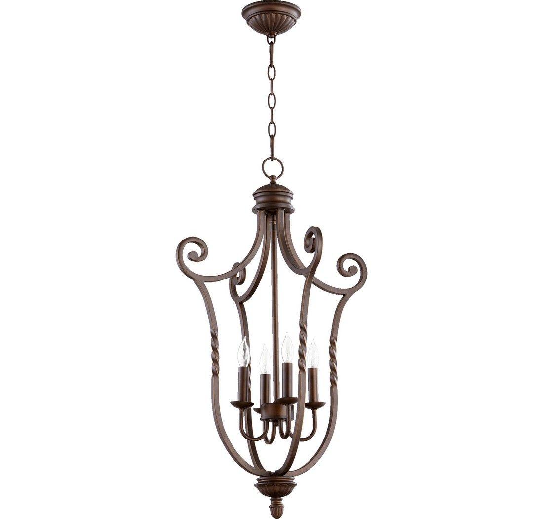 Quorum Tribeca 18 75 4 Light Entry Chandelier In Oiled Bronze