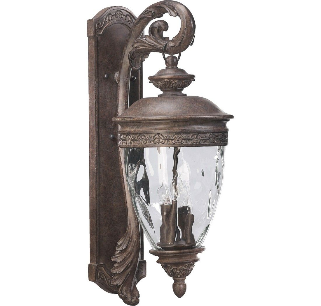 """Quorum Georgia 30"""" 4-Light Outdoor Wall Sconce In Etruscan"""