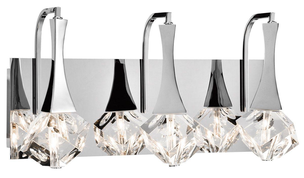 Elan Rockne 17 75 3 Light Led K9 Crystal Bathroom Vanity Light In