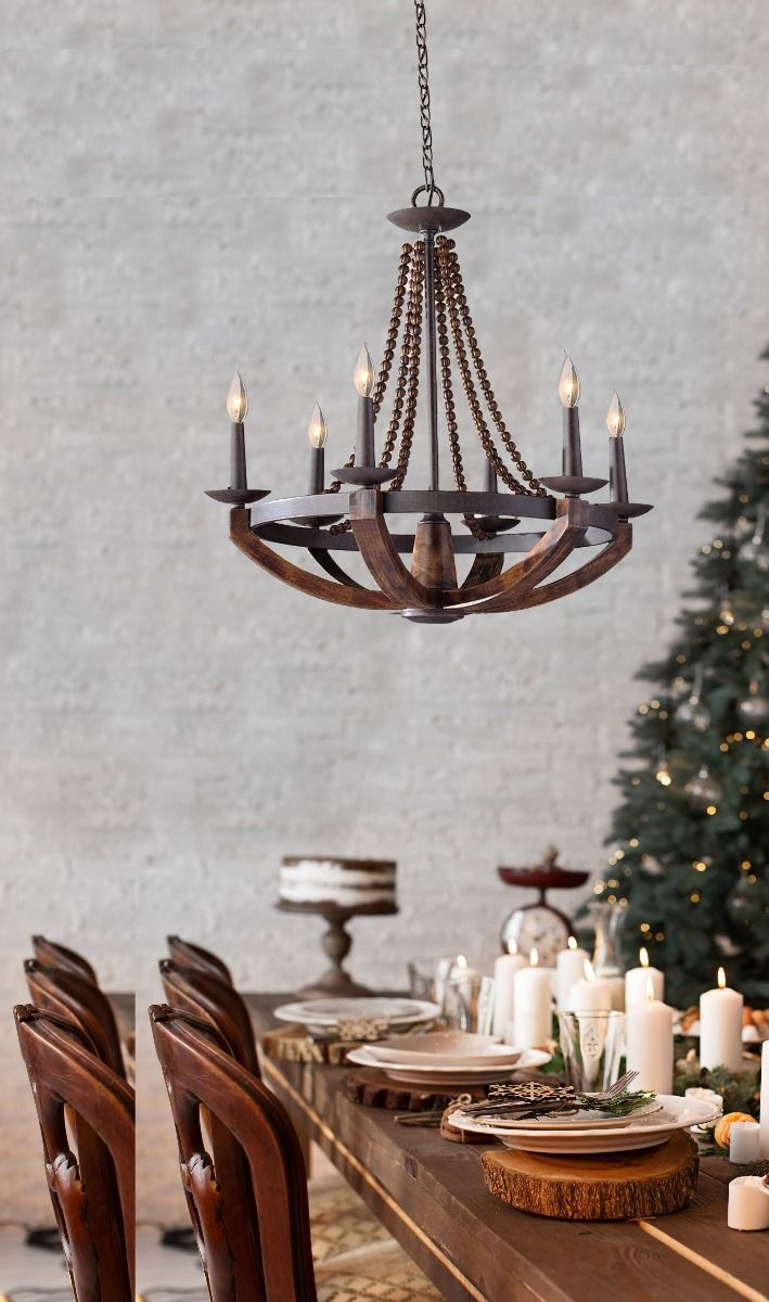 Feiss Adan 6 Light Chandelier In Rustic Iron And Burnished Wood Finish