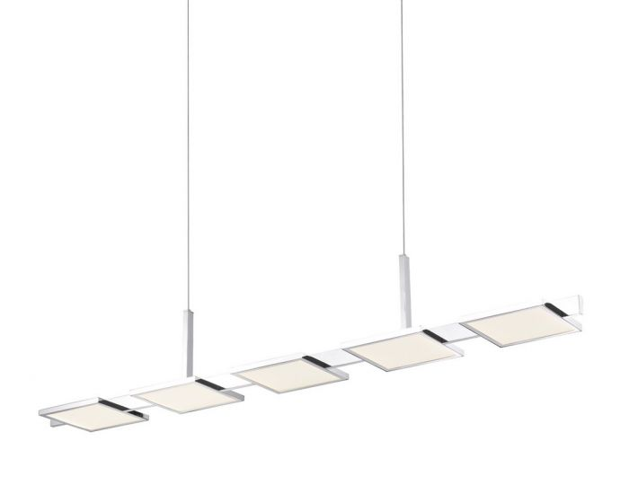 Sonneman Panels 44 25 5 Light Led Bar Pendant In Polished Chrome Modern Ceiling Lights Lighting And Home Decor By Style