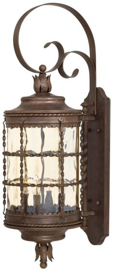 "The Great Outdoors Mallorca 4-Light 34"" Outdoor Wall Light in Vintage Rust"