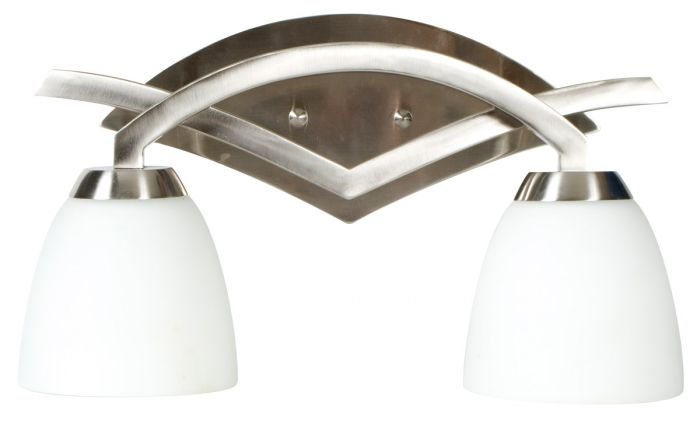 Craftmade Viewpoint 2-Light Bath Vanity in Brushed Nickel w/Cased Glass