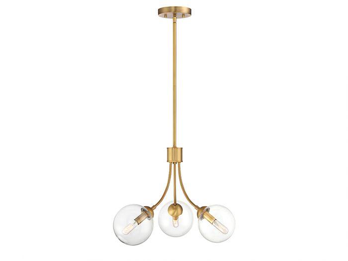Trade Winds Lighting Trio 3-Light Chandelier in Natural Brass