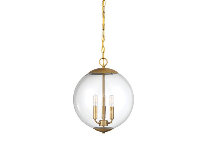 Trade Winds Lighting Bubble 3-Light Pendant in Natural Brass