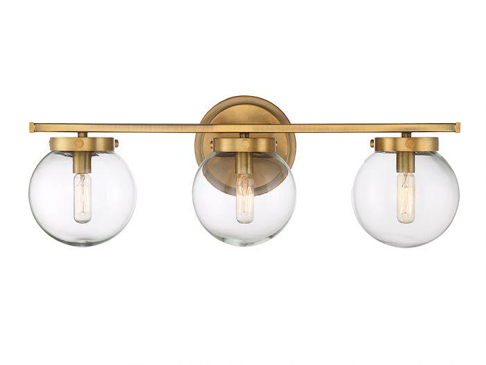 "Trade Winds Industrial 3-Light 8"" Bathroom Vanity Light in Natural Brass"