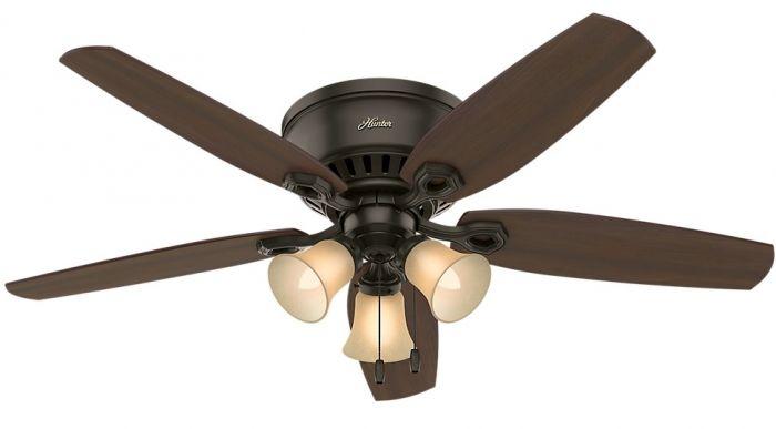 """Hunter Builder 52"""" Indoor Low Profile Ceiling Fan in New Bronze"""