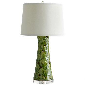"Cyan Design Eva 31.5"" Off-White Linen Shade Table Lamp in Emerald Glaze"