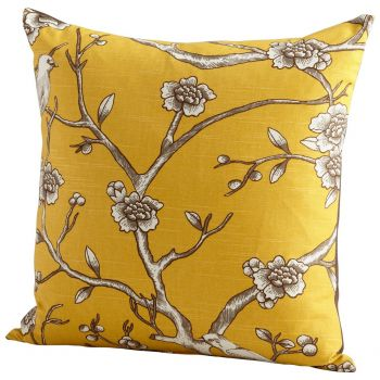 "Cyan Design Nature Lover 22"" Feathers and Downs Pillow in Yellow"