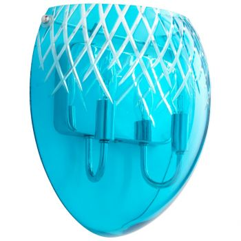 """Cyan Design Spheroid 11.75"""" Blue Etched Glass Wall Sconce in Chrome"""