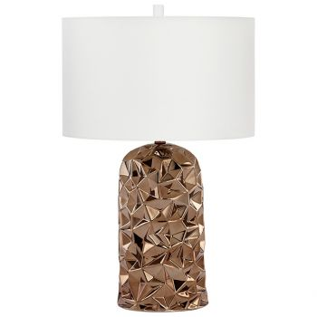 "Cyan Design Igneous 28.25"" Cream Cotton Shade Table Lamp in Bronze"
