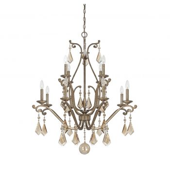 Savoy House Rothchild 12-Light Crystal Chandelier in Oxidized Silver