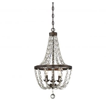Savoy House 3-Light Mini Crystal Chandelier in Oiled Burnished Bronze